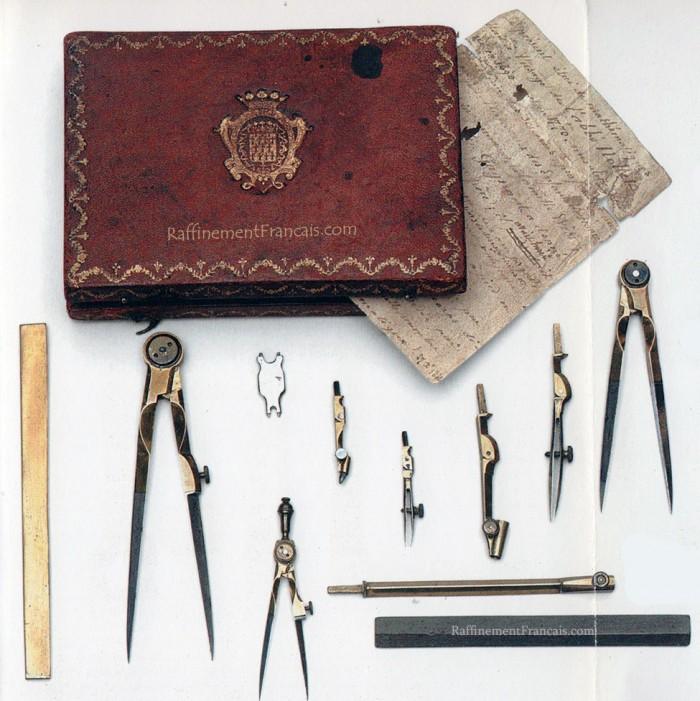Nécessaire de mathématiques dit nécessaire de Nollet, milieu du XVIIIe siècle.